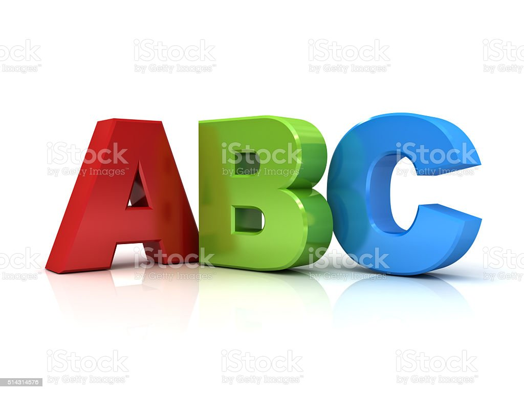 3d abc letters isolated over white stock photo
