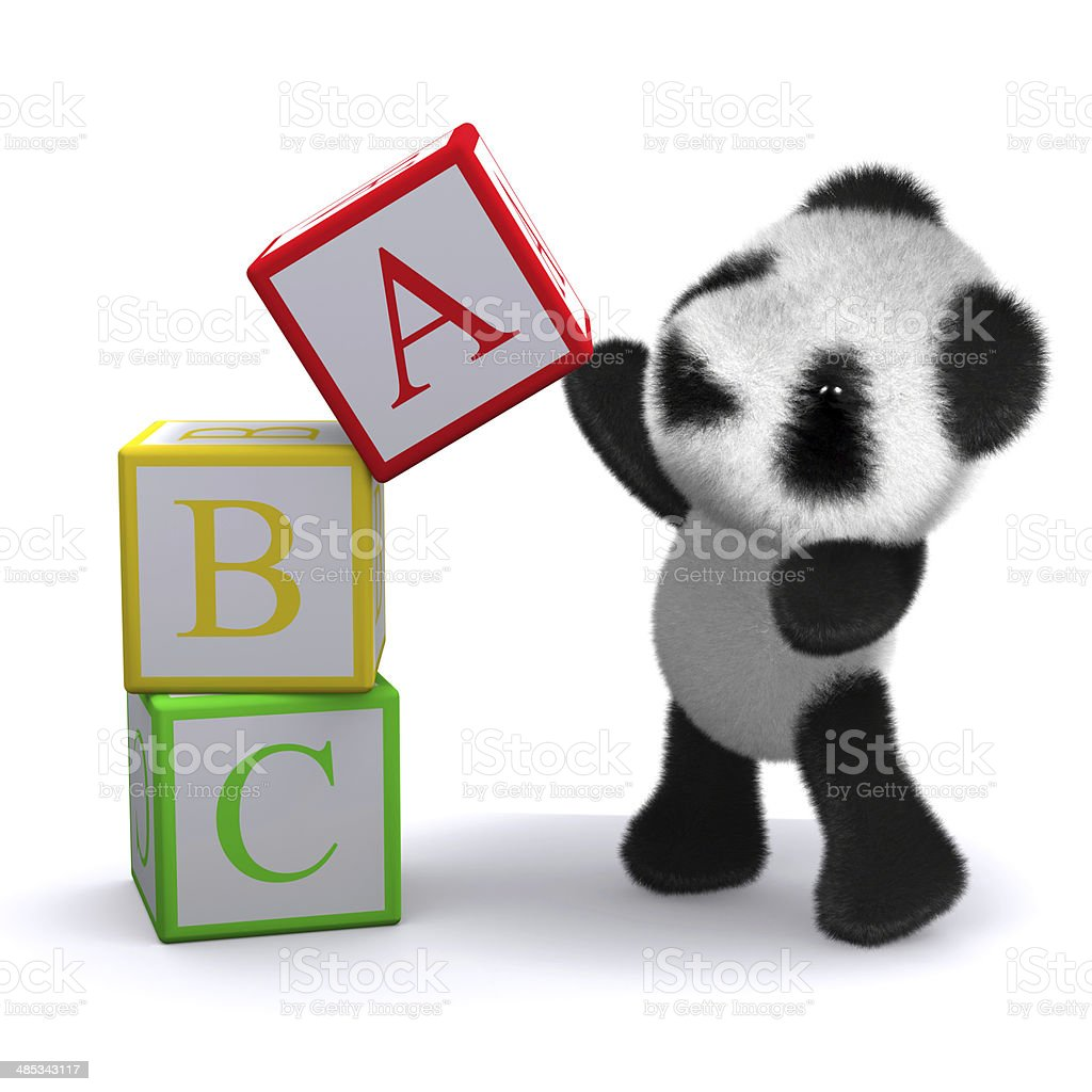 3d ABC Panda balances a block stock photo