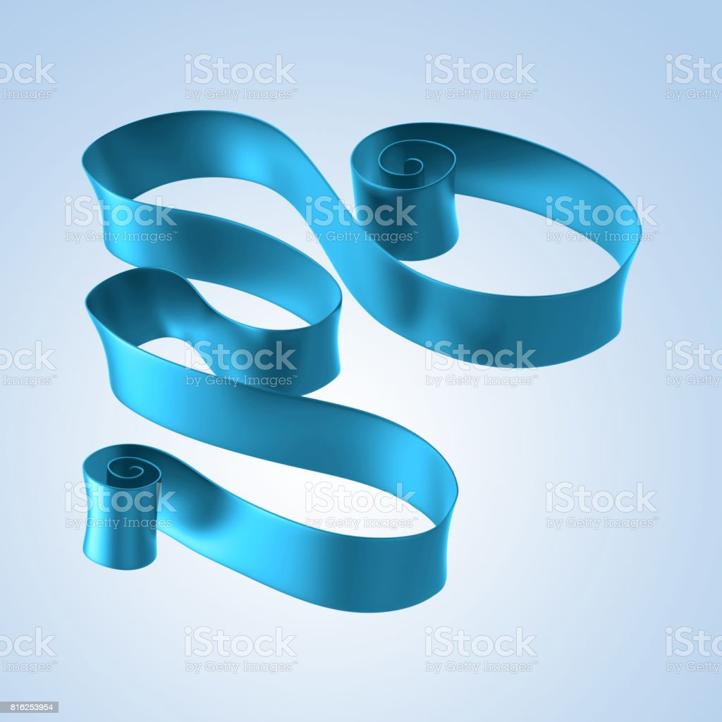 3d abstract blue festive ribbon, curled announcement placard, commercial message banner stock photo