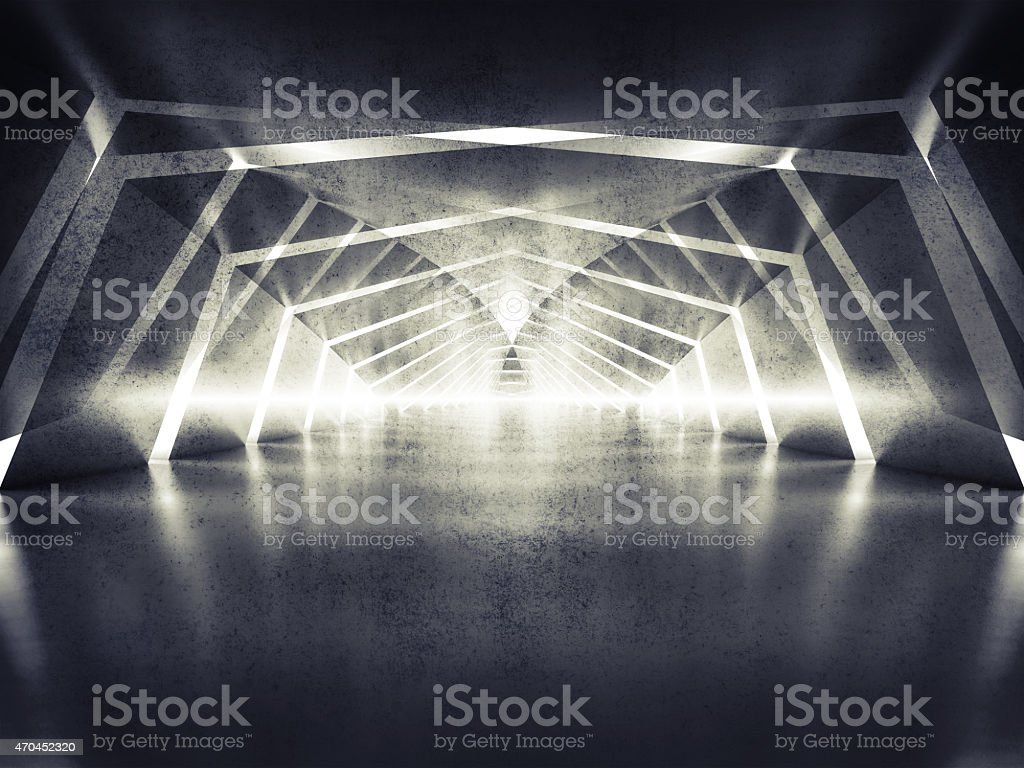 3d abstract dark shining surreal tunnel interior background stock photo