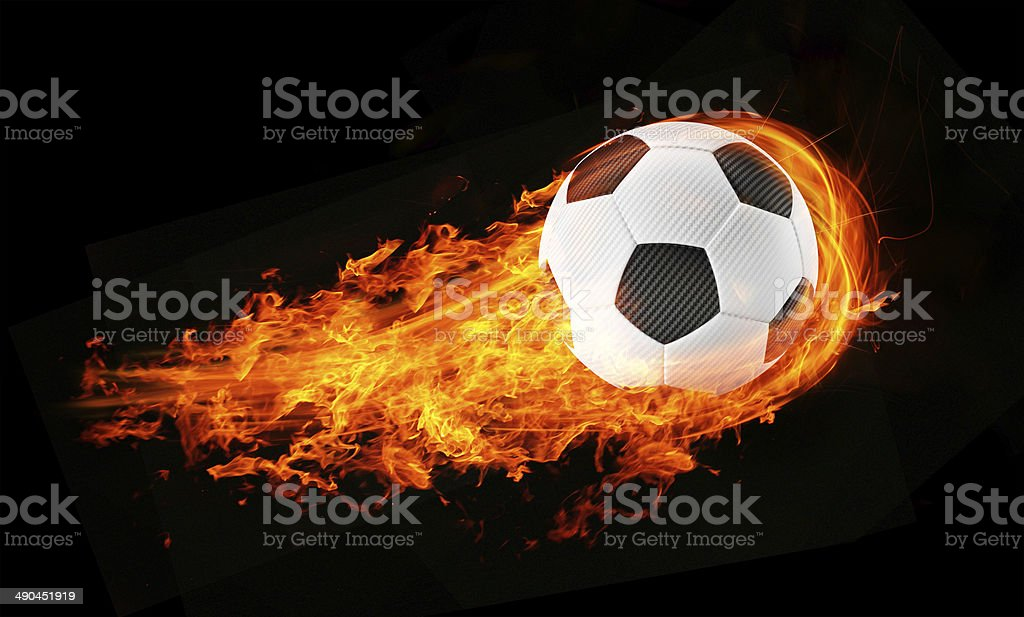 3d abstract flamed soccer ball fireball background stock photo