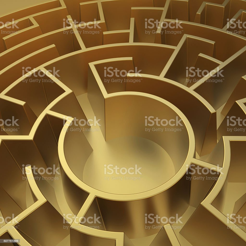 3d abstract round labyrinth, golden maze background stock photo
