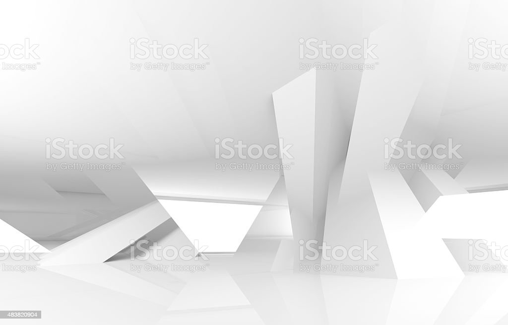 3d abstract white digital architecture background vector art illustration