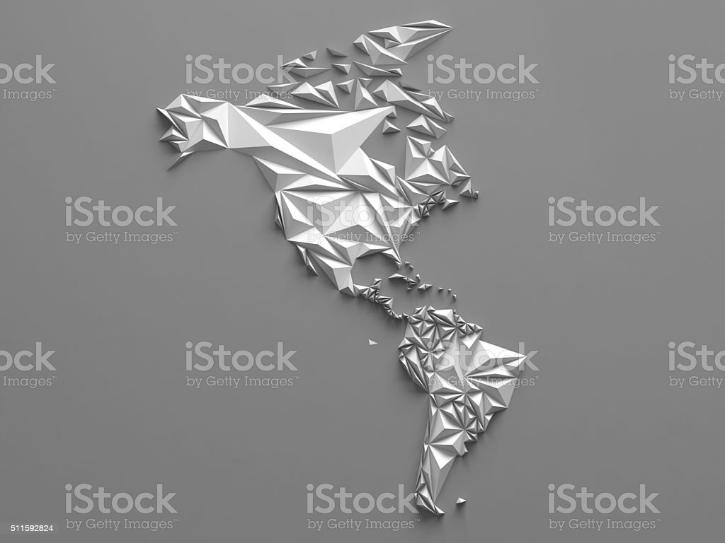 3d abstract white faceted map, global geographic background, America continent stock photo