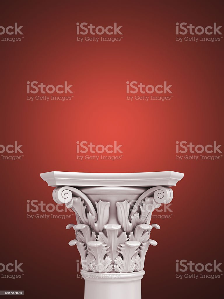 3d Advertisement Pedestal on dark-red background stock photo