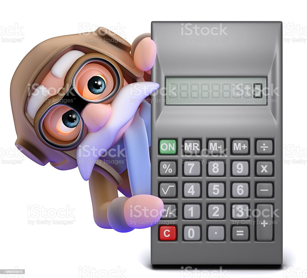 3d Airline pilot behind calculator stock photo