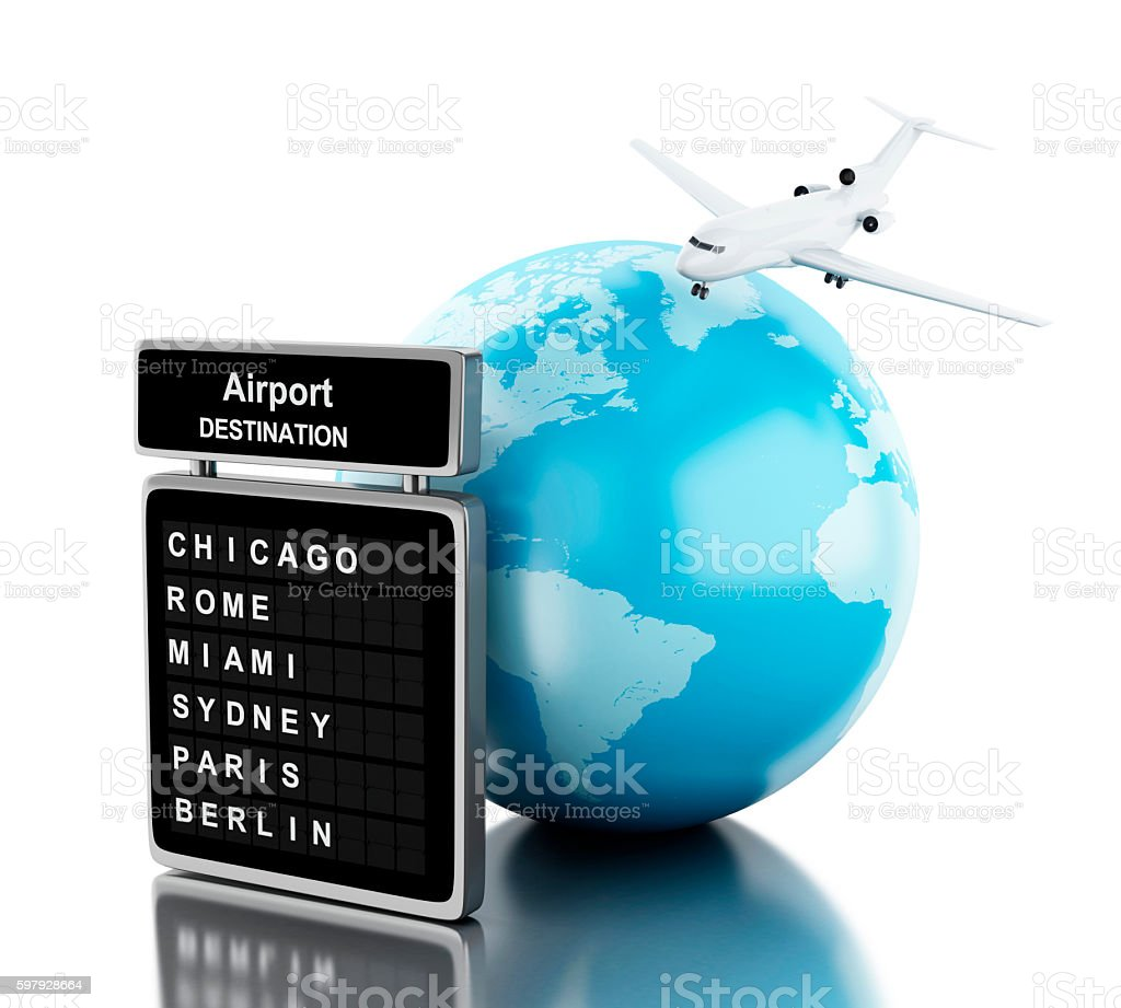 3d Airplane flying around globe and board airport. stock photo