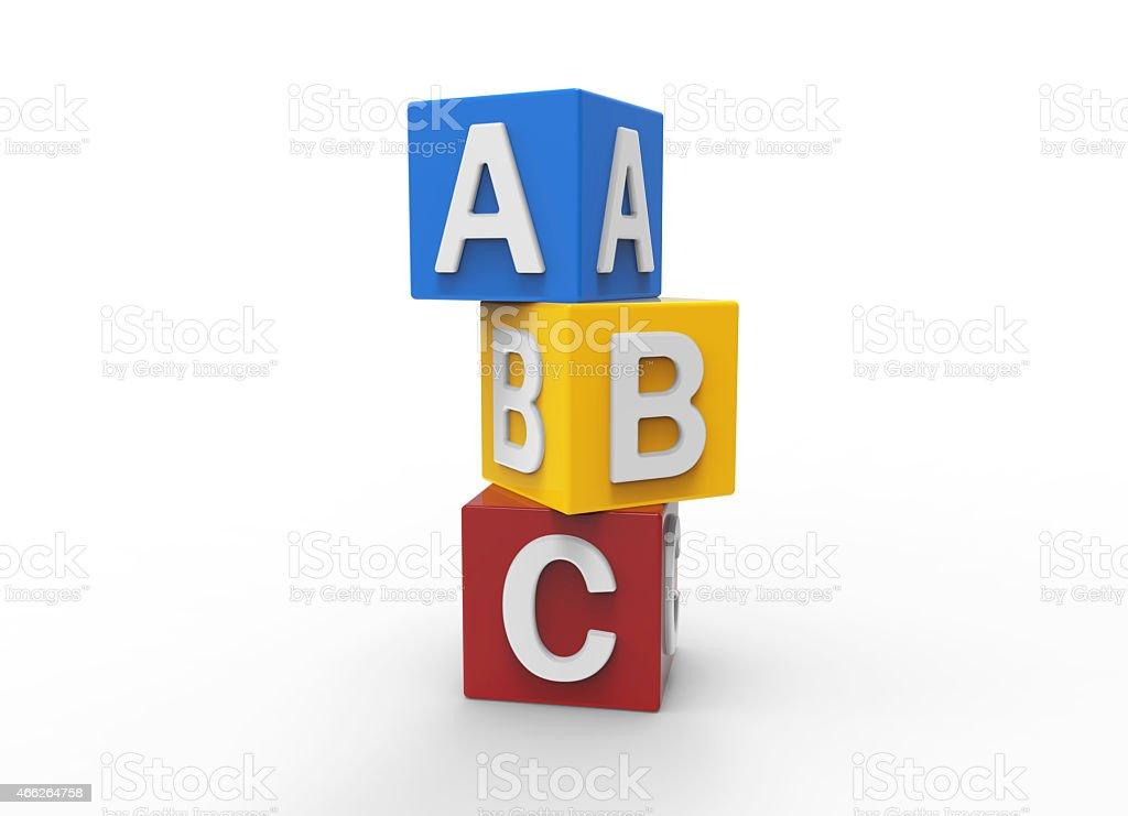 3d alphabet blocks stock photo