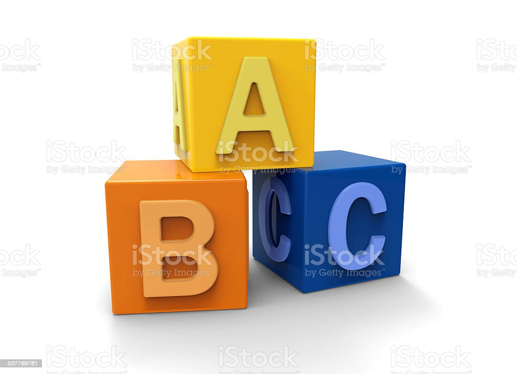 3d alphabet blocks stock photo
