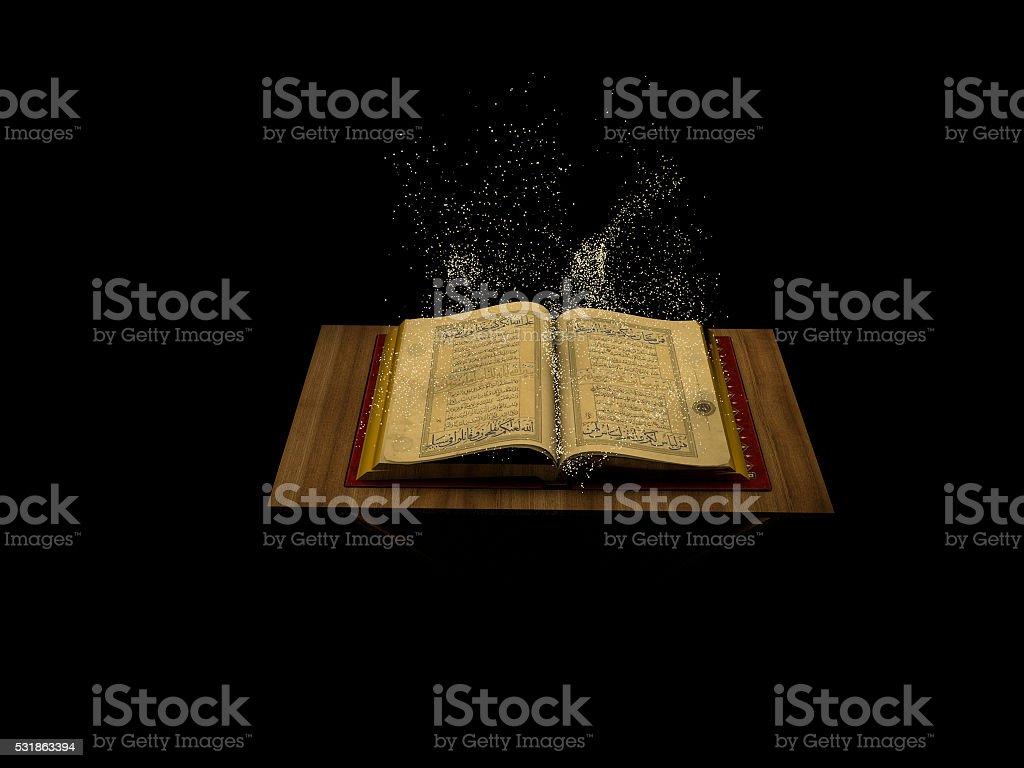 3d arabic Muslim Quran book stock photo