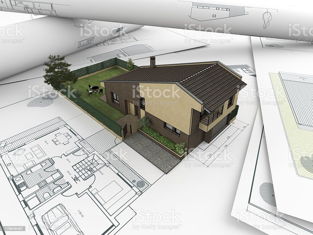 3d architectural drawings concept royalty-free stock photo