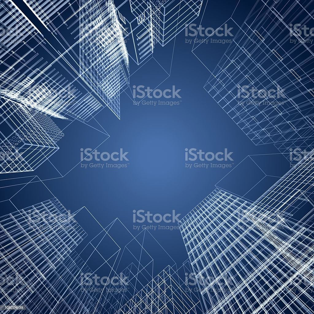 3d architectural square of wireframe buildings vector art illustration