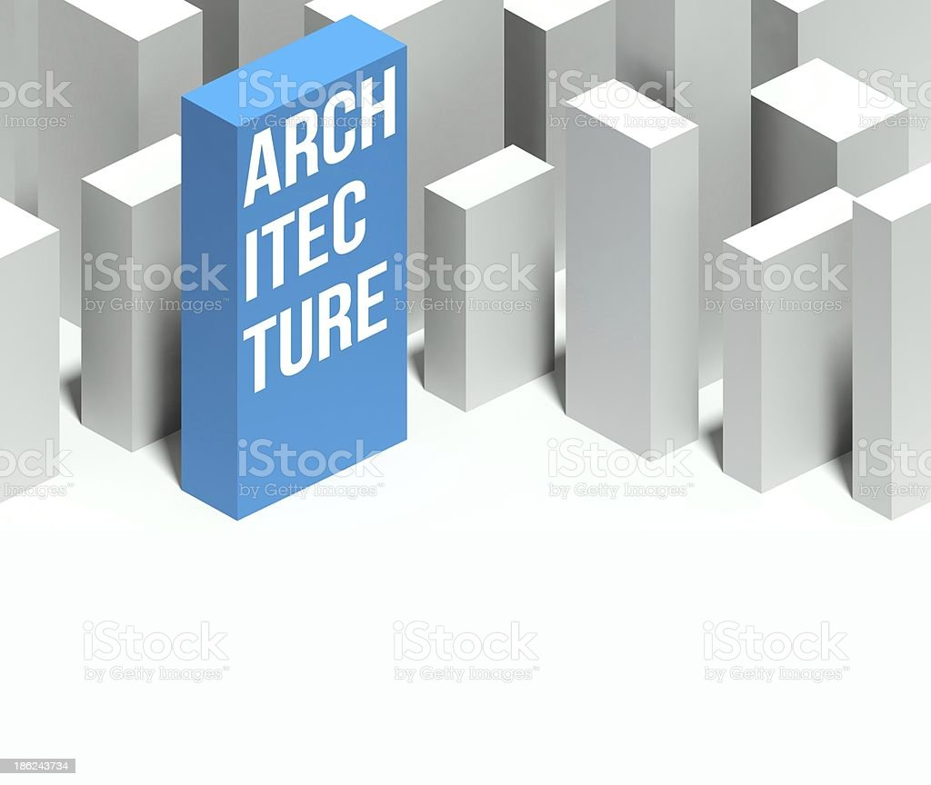 3d architecture conceptual model of city with distinctive skyscraper stock photo