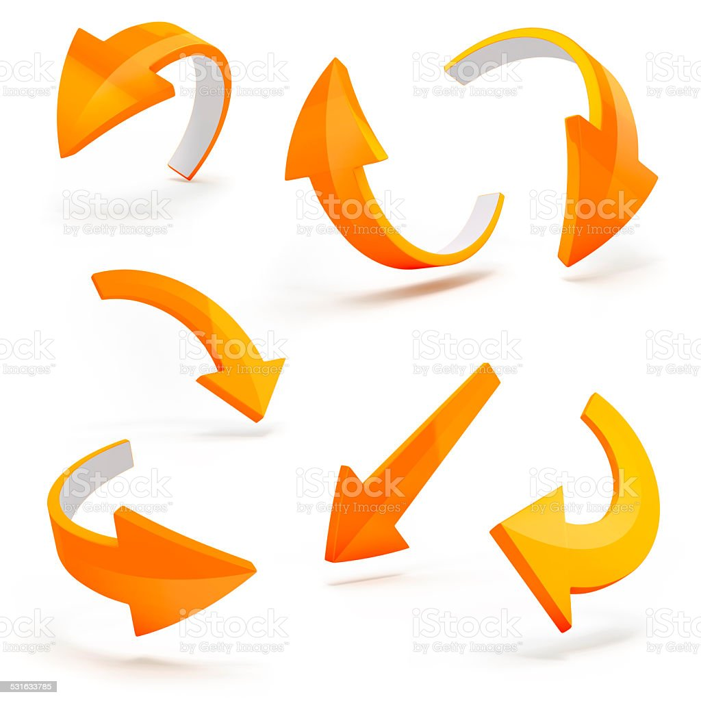3d arrows on white background stock photo