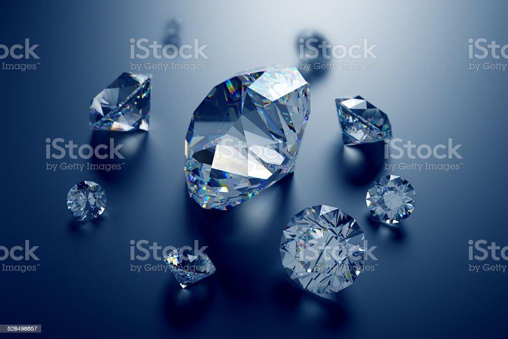 3d assorted diamonds, sparkling brilliants, clear jewels on dark background stock photo