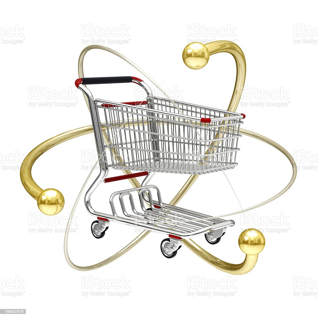 3d Atomic power of online shopping cart icon royalty-free stock photo