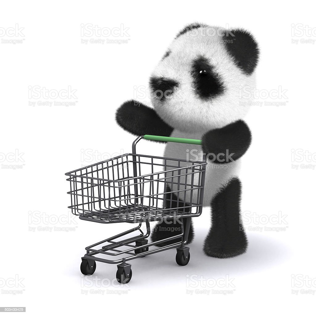 3d Baby panda bear goes shopping stock photo