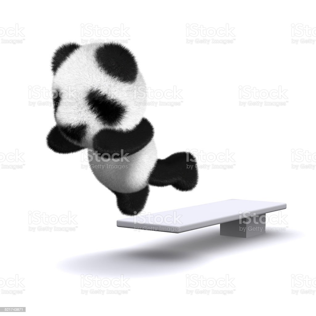 3d Baby panda bear jumps off the diving board stock photo