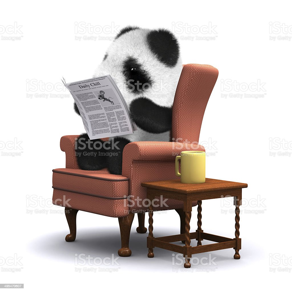 3d Baby panda bear reads the papers stock photo