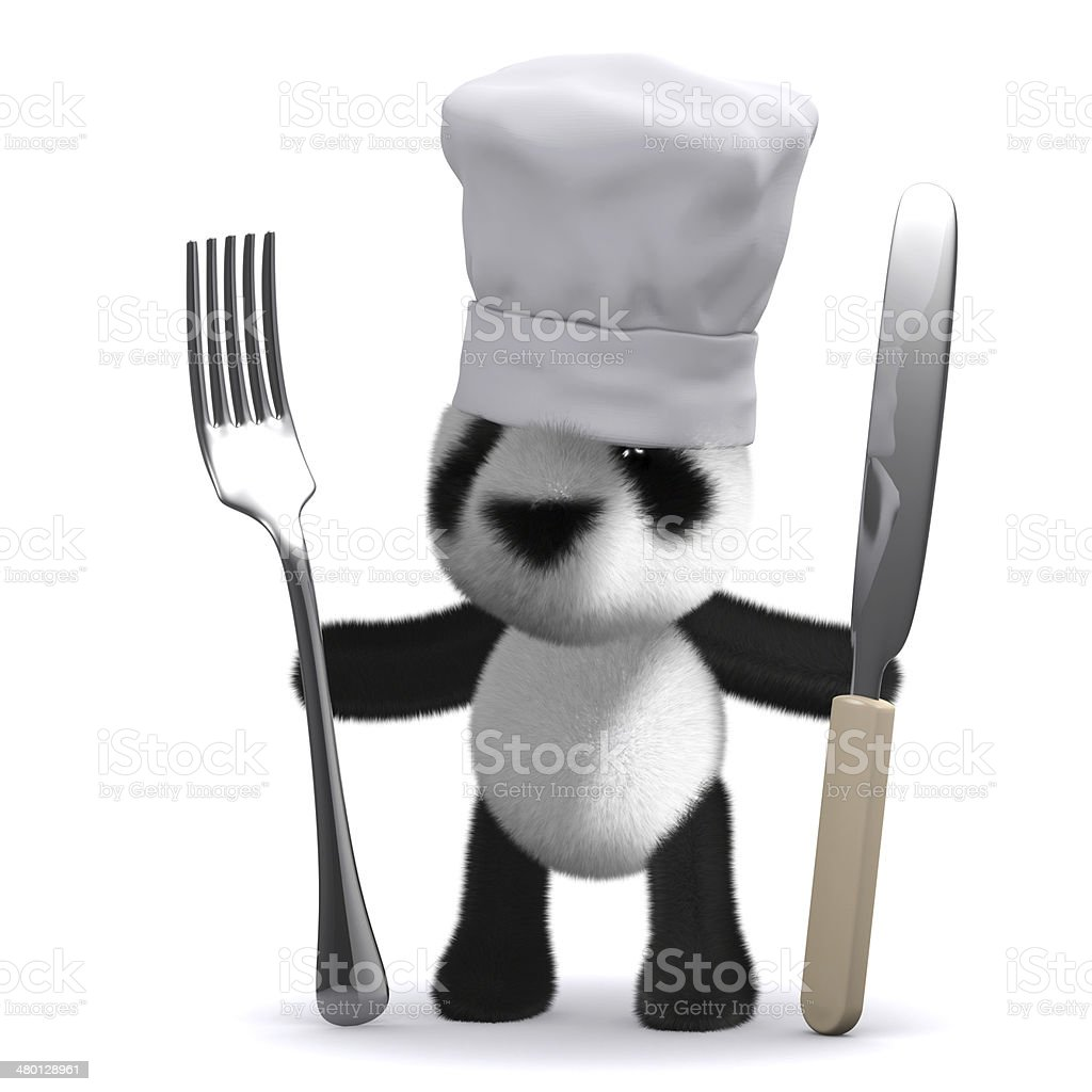 3d Baby Panda chef stock photo