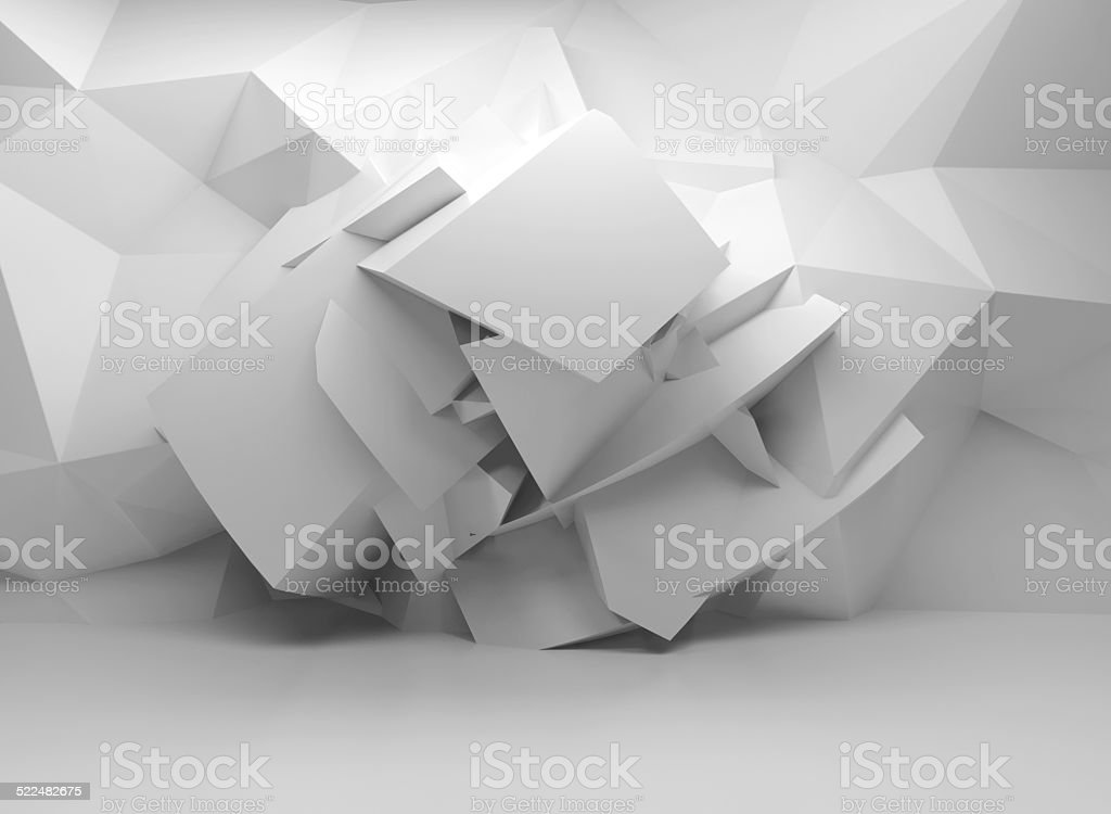 3d background with chaotic structure in empty interior stock photo