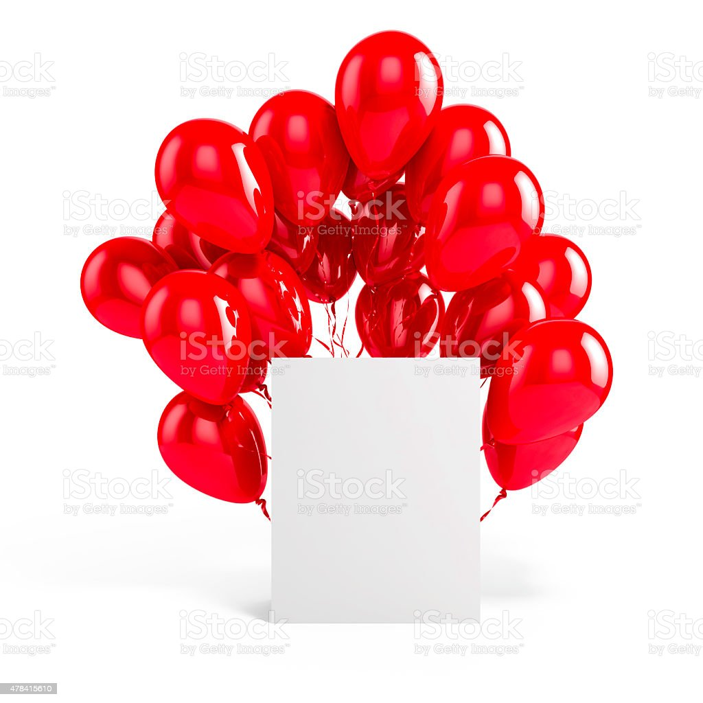 3d balloons and blank box stock photo