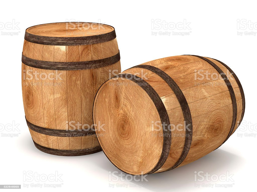 3d Barrels on white background stock photo
