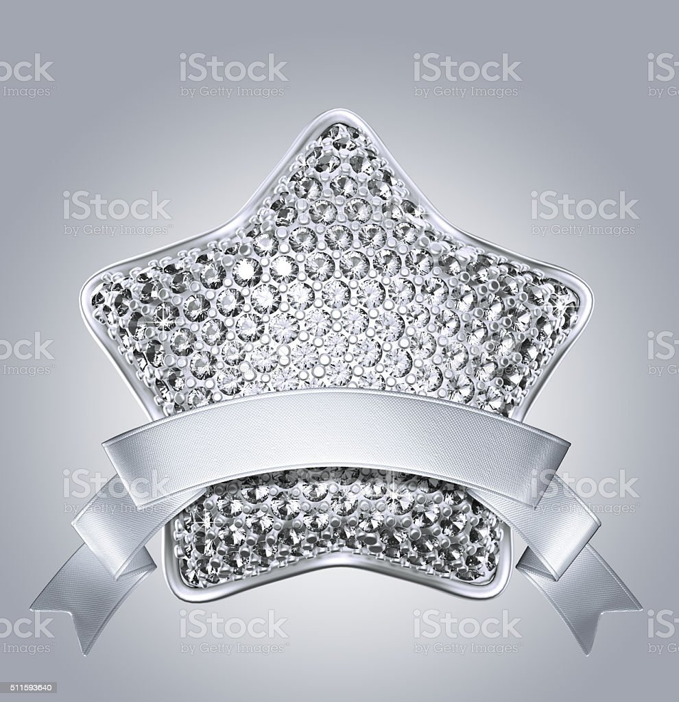 3d bedazzled brilliant star with silver ribbon tag stock photo