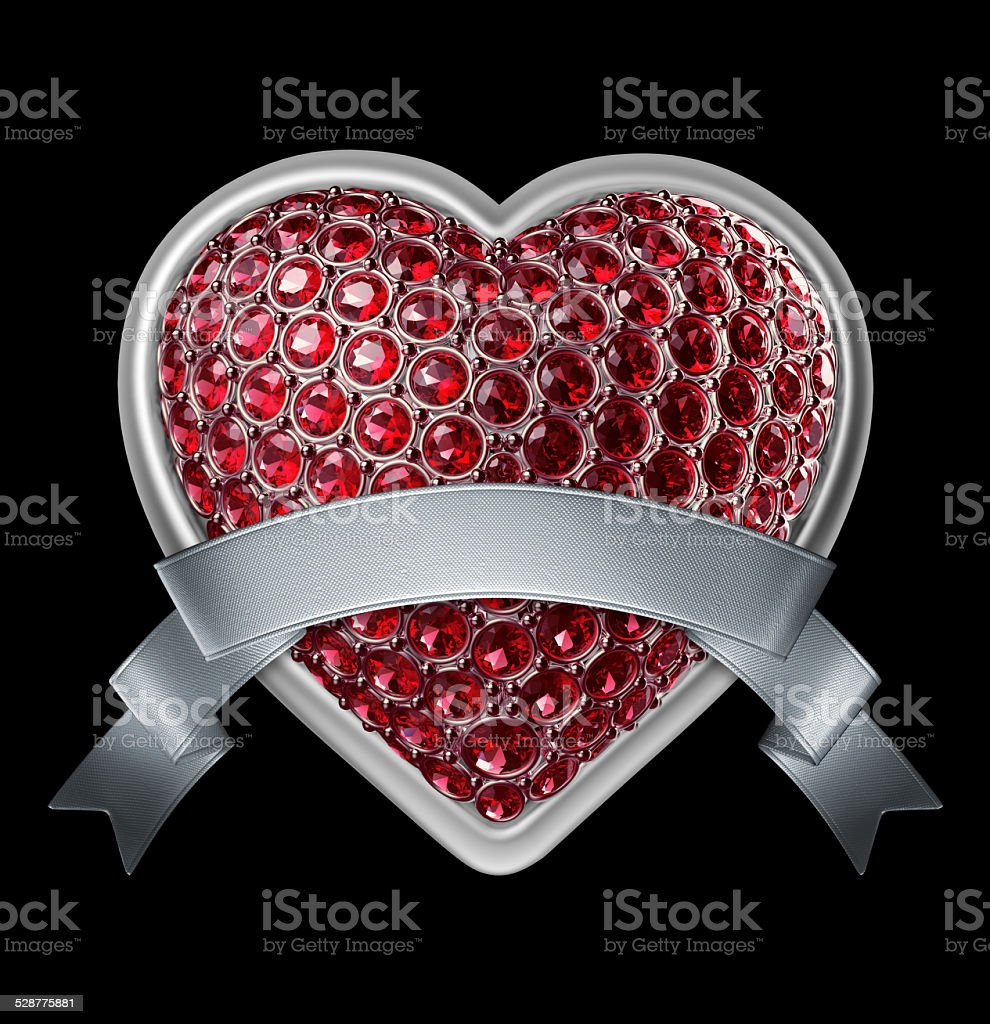 3d bedazzled ruby red heart with silver ribbon tag, stock photo