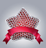 3d bedazzled ruby star with red ribbon tag.
