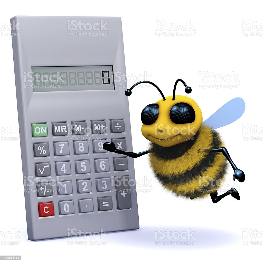 3d Bee calculates stock photo