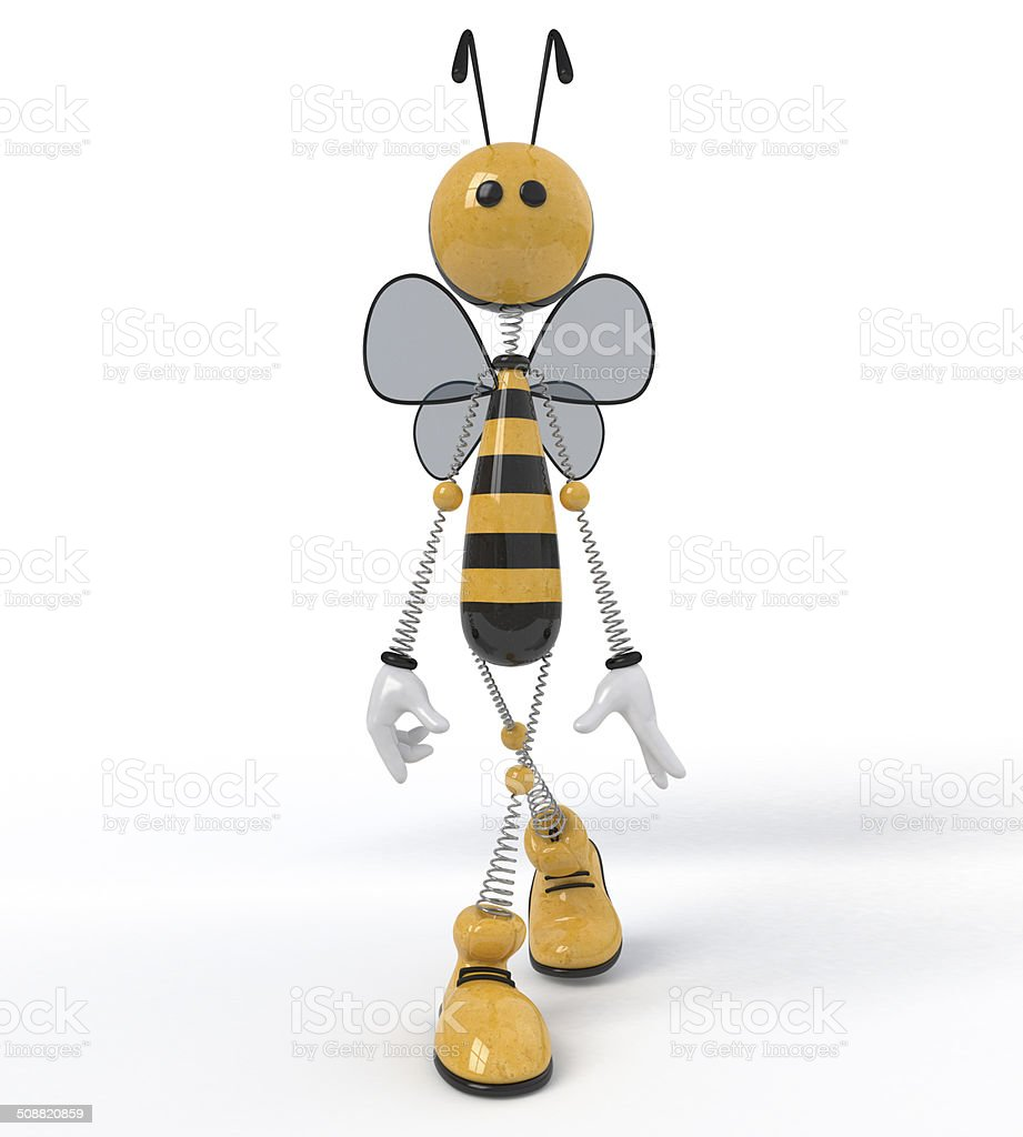 3d bee. vector art illustration