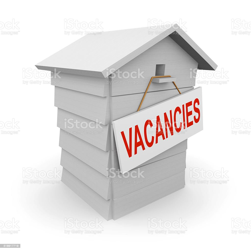 3d Beehive has a vacancy stock photo