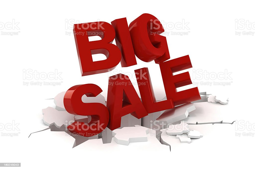 3d big sale text on white background royalty-free stock photo
