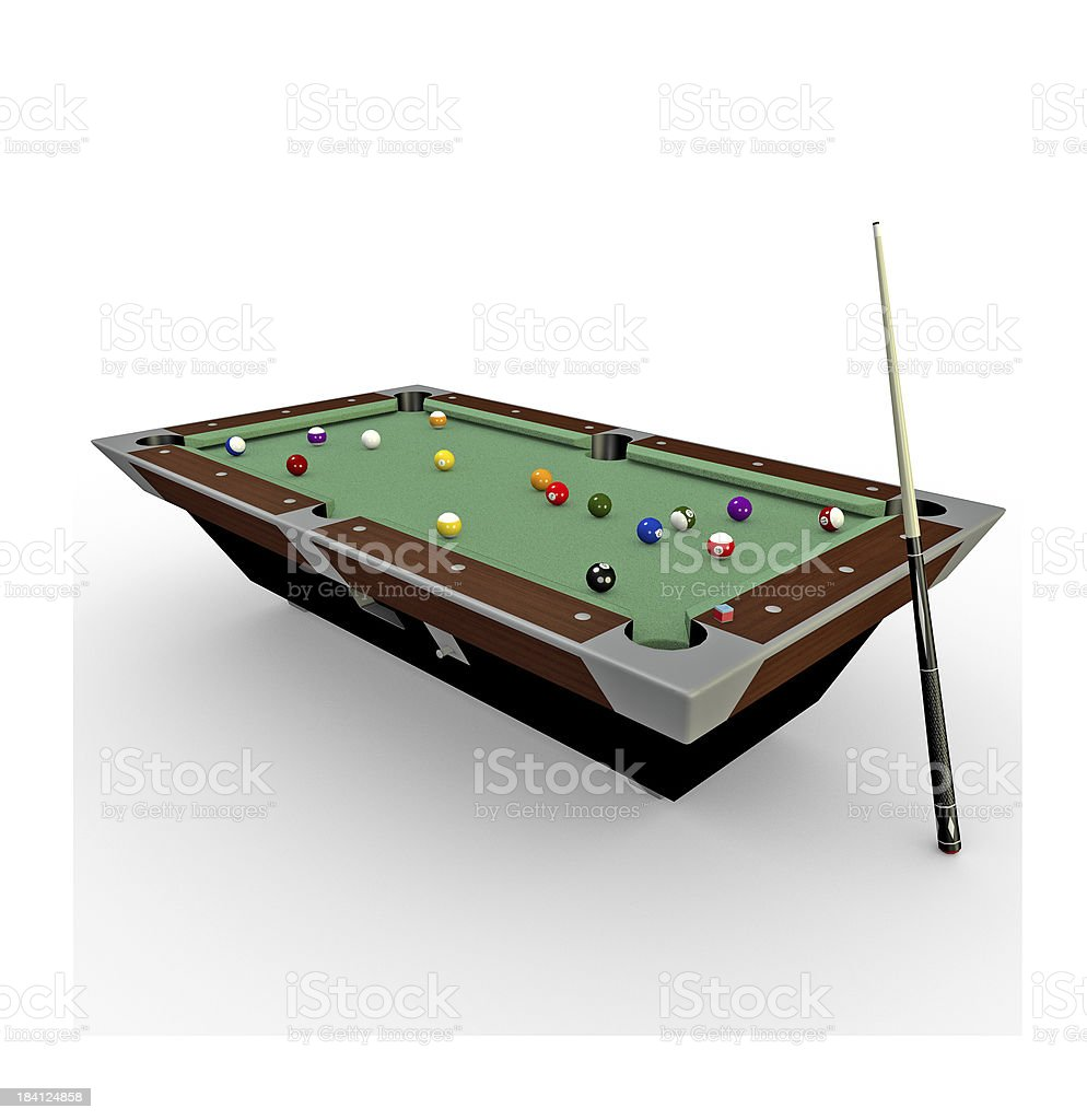 3d Billiards pool table with balls,chalk and cue-stick royalty-free stock photo