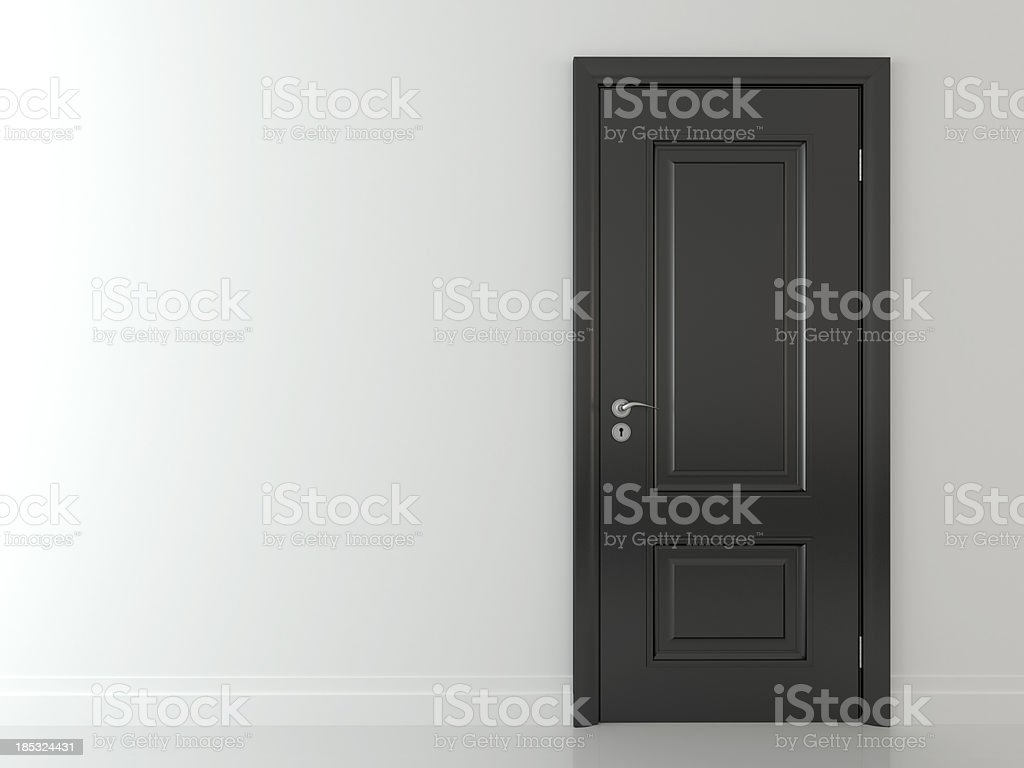 3d black  classic door on white wall stock photo