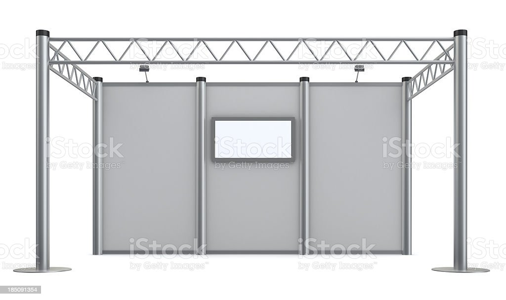 3d blank advertisement Exhibition stand with video wall stock photo
