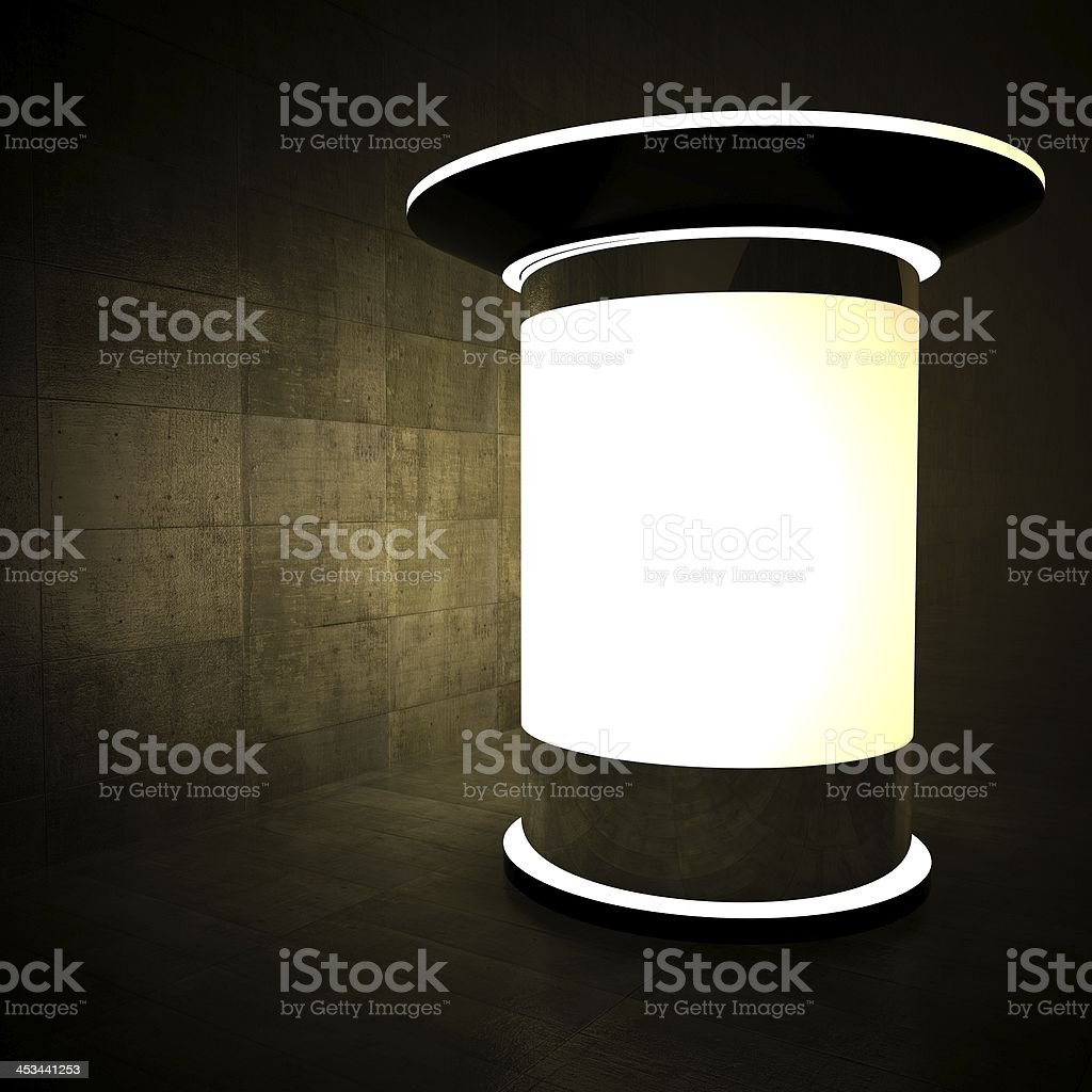 3d blank advertising column at night royalty-free stock photo