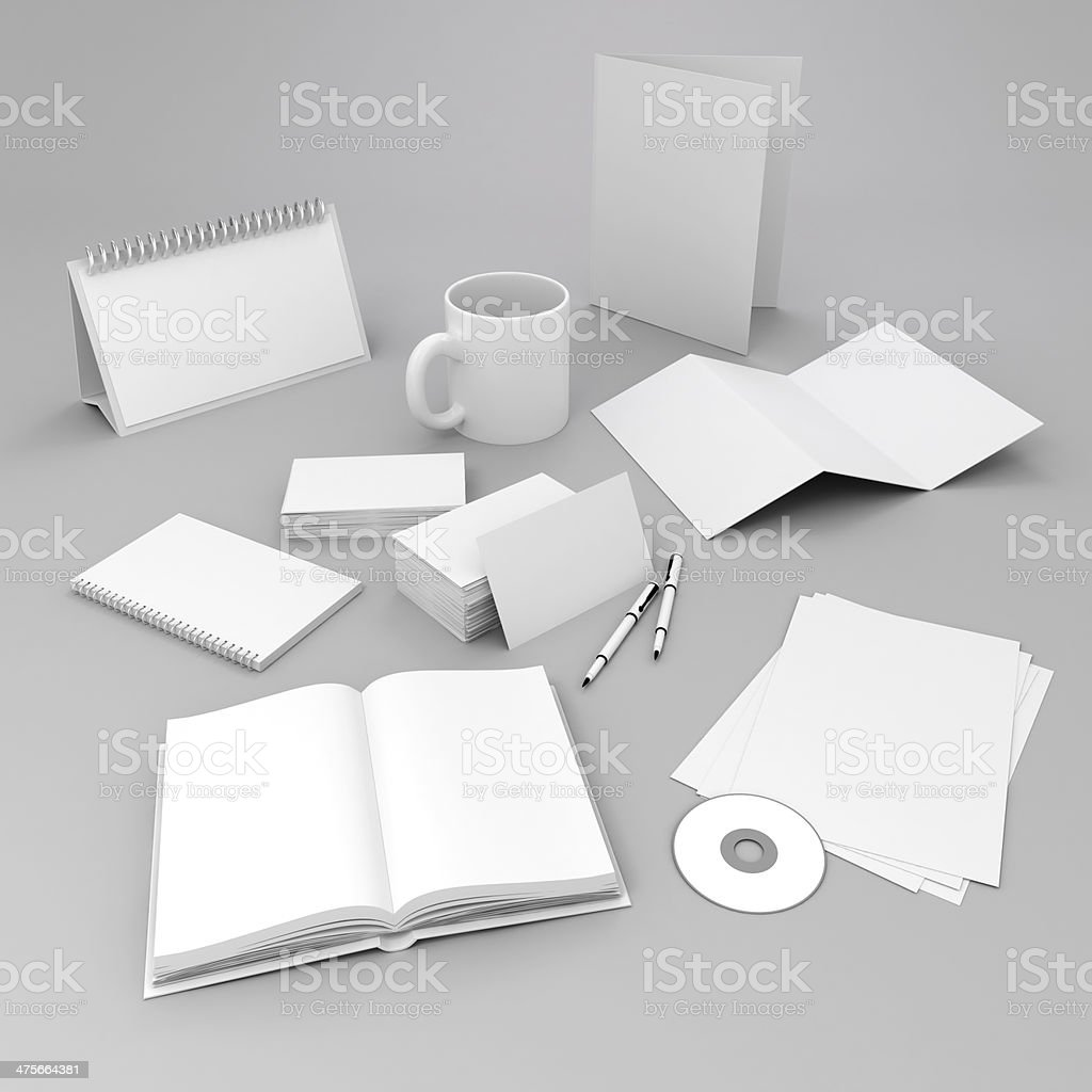 3d blank corporate id elements design stock photo