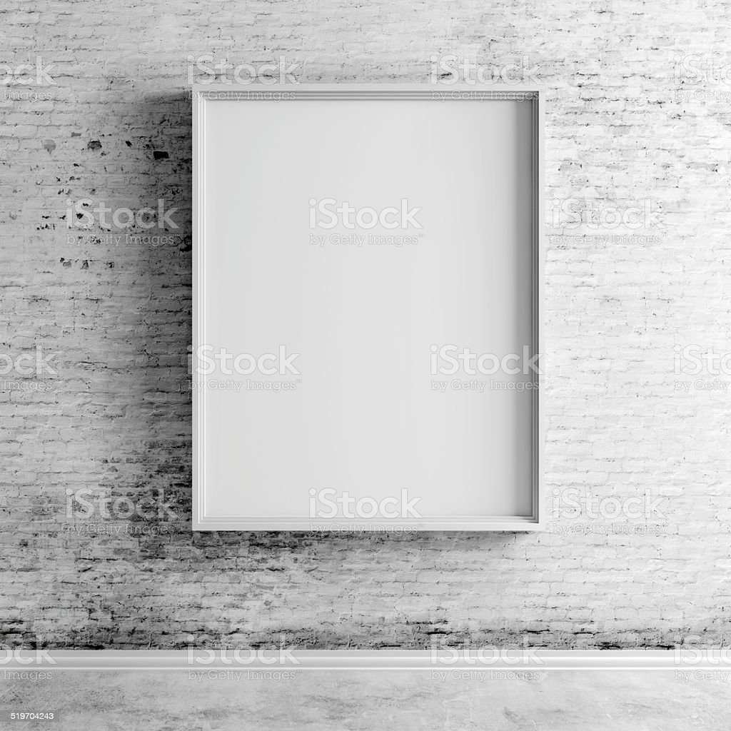 3d blank frame on white vintage brick wall stock photo