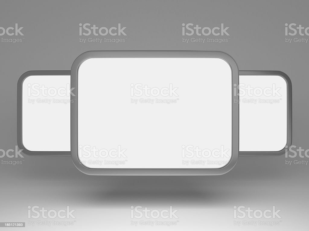 3d blank gallery panels royalty-free stock photo