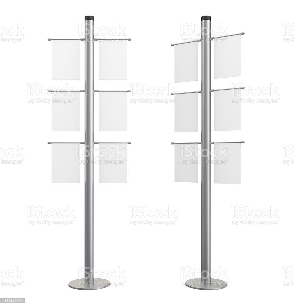 3d blank indication information stand with banners stock photo