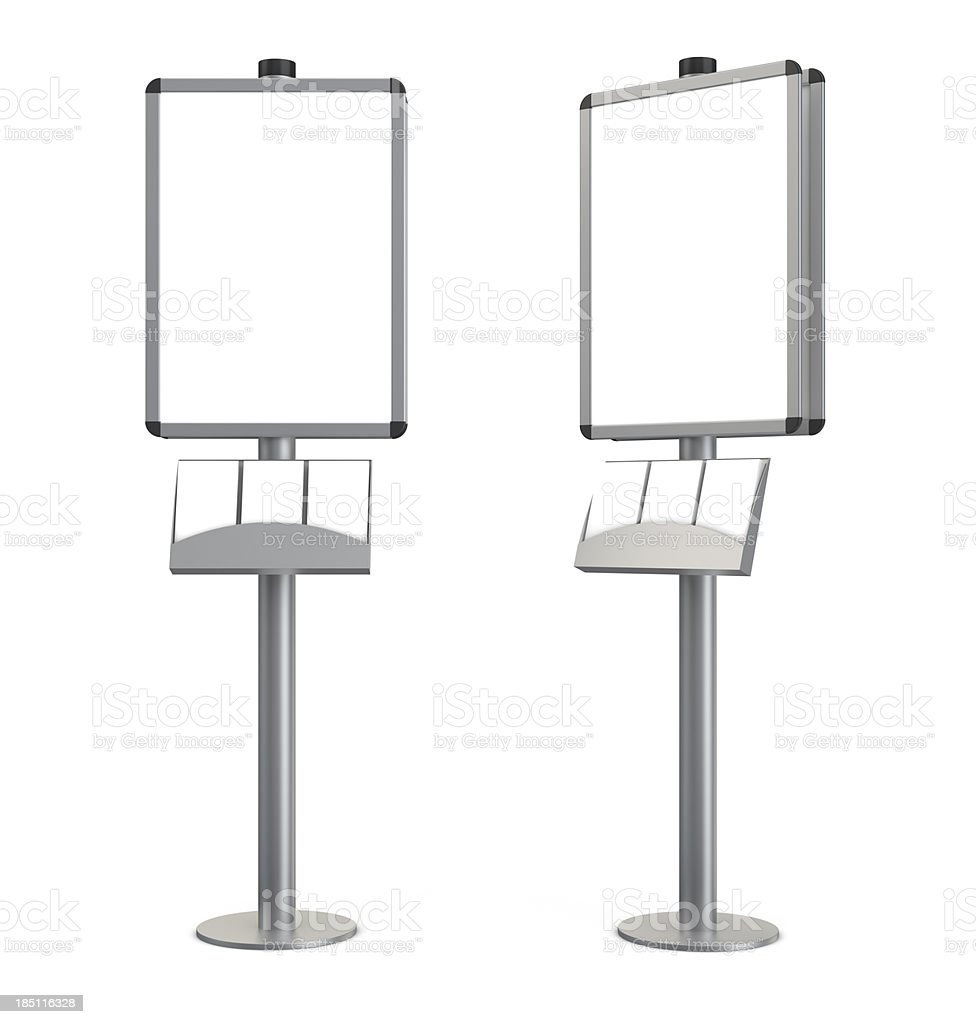 3d blank indication information stand with brochures stock photo