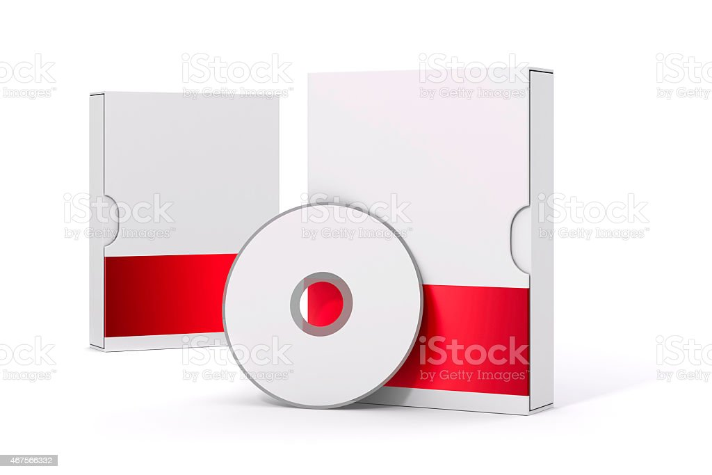 3d blank software package and dvd on white background stock photo