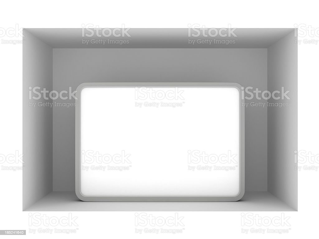 3d blank standing poster in vitrine royalty-free stock photo