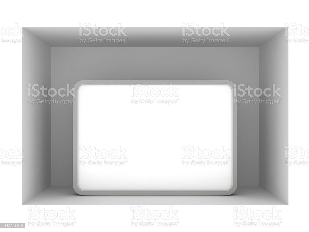 3d blank standing poster in vitrine stock photo