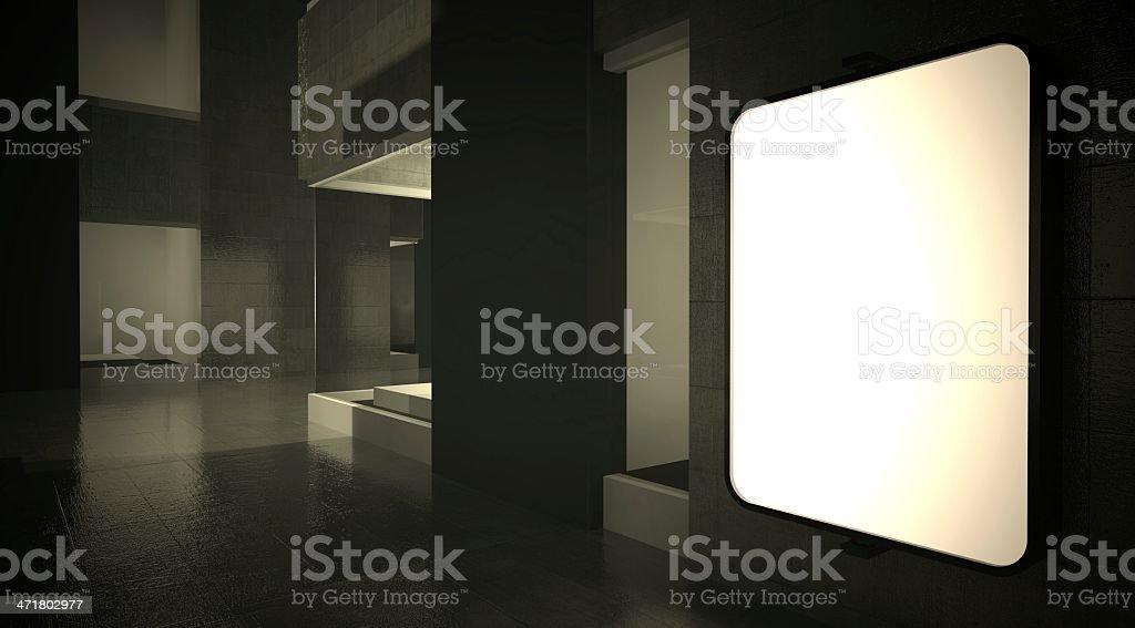 3d blank street advertising billboard on wall royalty-free stock photo