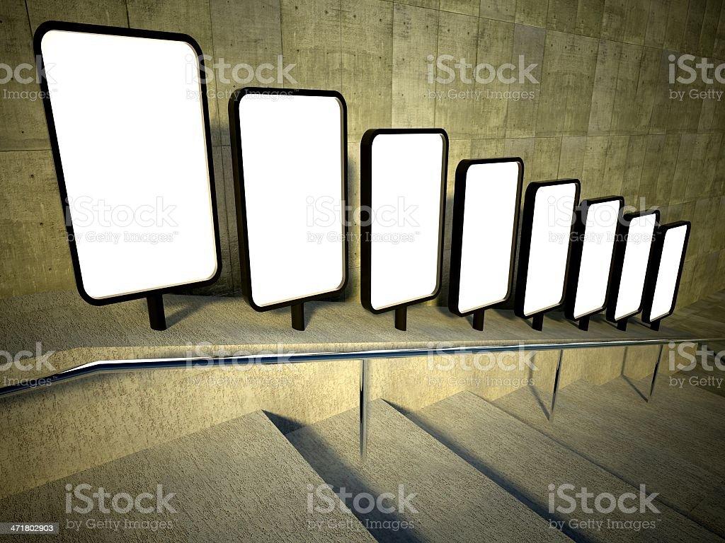 3d blank street advertising billboard, stairs royalty-free stock photo