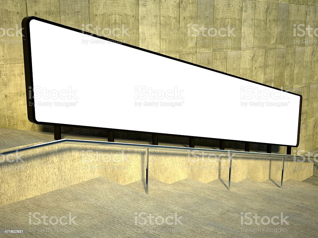 3d blank street advertising billboard, stairs royalty-free stock photo