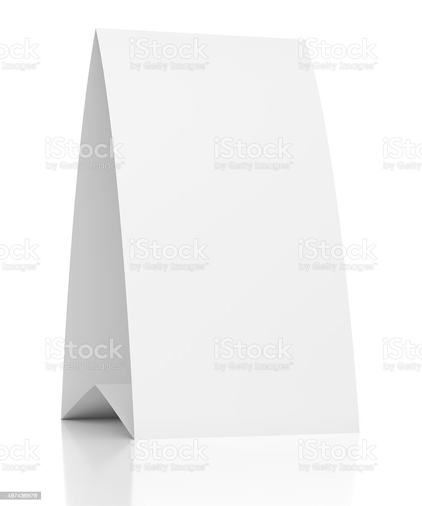 3d blank table paper card on white stock photo